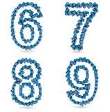 Sechs, sieben, acht, neun Digits gebildet mit Würfeln Lizenzfreie Stockbilder