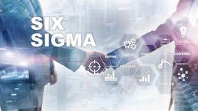Sechs Sigma, Herstellung, Qualitätskontrolle und industrieller Prozess, die Konzept verbessern Geschäft, Internet und tehcnology vektor abbildung