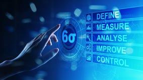 Sechs Sigma, schlanke Produktion, Qualitätskontrolle und industrieller Prozess, die Konzept verbessern lizenzfreie stockfotografie