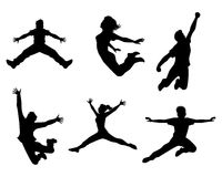 Sechs springende Jugendliche Stockbilder
