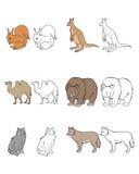 Sechs Tiere eingestellt lizenzfreie abbildung