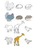 Sechs Tiere eingestellt stock abbildung