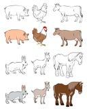Sechs Tiere eingestellt Stockfotografie