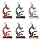 Sechs unterschiedliche Farbe von Mikroskopen Stockbild