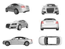 Sechs verschiedene Ansichten des Bildes 3D des silbernen Autos Lizenzfreie Stockbilder