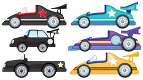 Sechs verschiedene Arten von Spielzeugautos Stockbild