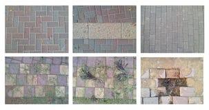 Sechs verschiedene Bilder von verwendeten Straßenpflastersteinbeschaffenheiten Lizenzfreie Stockfotografie