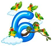 Sechs Vogel auf Himmel vektor abbildung