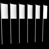 Sechs weiße vertikale Markierungsfahnen Stockbilder