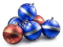 Sechs Weihnachtskugeln, -ROT und -BLAU Lizenzfreie Stockfotos
