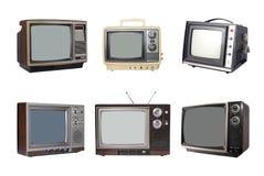 Sechs Weinlese Fernsehapparate Stockfotos
