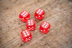 Sechs Zahlen auf Gesichtern von Rot fünf würfelt auf Boden Lizenzfreie Stockfotos
