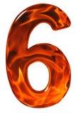 6, sechs, Ziffer vom Glas mit einem abstrakten Muster eines Flammens Stockbild