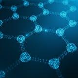 Sechseckige geometrische Formnahaufnahme der abstrakten Nanotechnologie, Konzeptgraphen-Atomstruktur, Konzeptgraphen molekular Lizenzfreies Stockfoto