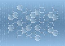Sechseckige geometrische Zusammenfassung mit blauem Hintergrund Lizenzfreies Stockbild