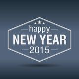 Sechseckiger weißer Weinleseaufkleber des guten Rutsch ins Neue Jahr 2015 Lizenzfreie Stockfotografie