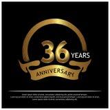 Sechsunddreißig Jahre Jahrestag golden Jahrestagsschablonenentwurf für Netz, Spiel, kreatives Plakat, Broschüre, Broschüre, Flieg vektor abbildung