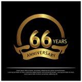 Sechsundsechzig Jahre Jahrestag golden Jahrestagsschablonenentwurf für Netz, Spiel, kreatives Plakat, Broschüre, Broschüre, Flieg stock abbildung