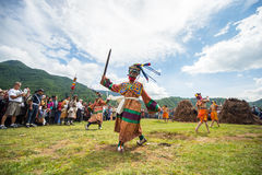 Sechu mask dancing agains the sun at fire and smoke ceremony to cleans of sin in Thangbi Lakhang Stock Images
