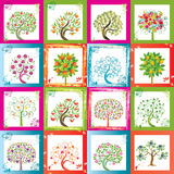 Sechzehn Bäume lizenzfreie abbildung