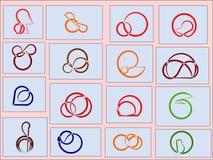 Sechzehn Charaktere gemalt im Stil des Stiftes Lizenzfreie Stockfotografie