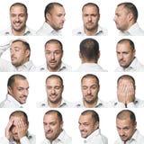 Sechzehn Gesichtsausdrücke eines Mannes Lizenzfreie Stockfotos