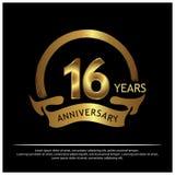 Sechzehn Jahre Jahrestag golden Jahrestagsschablonenentwurf für Netz, Spiel, kreatives Plakat, Broschüre, Broschüre, Flieger, Zei vektor abbildung
