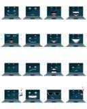Sechzehn Laptop emojis Stockfotografie