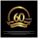 Sechzig Jahre Jahrestag golden Jahrestagsschablonenentwurf für Netz, Spiel, kreatives Plakat, Broschüre, Broschüre, Flieger, Zeit lizenzfreie abbildung