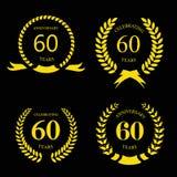 Sechzig Jahre Jahrestagszeichenlorbeergoldkranz Stockbild