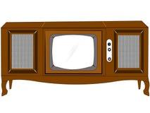 Sechzigerkonsolenfernsehapparat stock abbildung