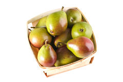 Seckel Pears in Basket. Fresh Seckel Pears in a wood pint box Royalty Free Stock Images
