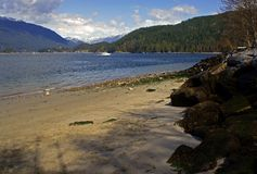 Secluded Beach. A small secluded beach at Barnet Marine Park in Burnaby near Vancouver, Canada Stock Photo
