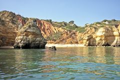 Secluded beach in the Algarve in Portugal Royalty Free Stock Photography