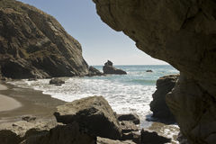 Secluded Beach Cove. A hidden and secluded beach cove stock image