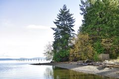 Secluded beach in Ladysmithh shoreline in Vancouver Island, BC, Stock Photos