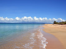 Secluded beach. Photo of a secluded beach on the Isla de Vieques, Puerto Rico.  The main island of Puerto Rico is in the background Stock Images