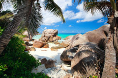 Secluded beach in Seychelles Royalty Free Stock Image
