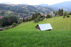 Secluded cabin on a green hill Stock Photos