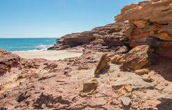 Secluded Cove with Sandstone Rock Stock Image