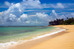 Secluded Hawaiian Beach. Secluded and deserted beach on Oahu North Shore of Hawaii Stock Photography