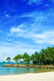 Secluded lagoon beach in the tropics Royalty Free Stock Images
