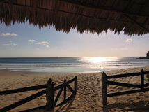 Secluded Nicaraguan Surf Beach at Sunser Royalty Free Stock Images
