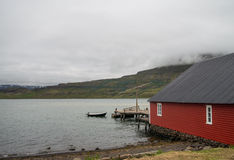 Secluded red scandinavian house Royalty Free Stock Photos