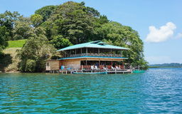 Secluded restaurant over the water Central America Royalty Free Stock Images