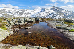 Secluded small lake on the top of mountains Stock Photography