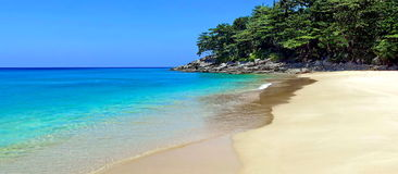 Secluded tropical beach. One of the many beautiful beaches which can be found on Phuket Island, I took this photo on Phukets west coast at the white sands resort Stock Photos