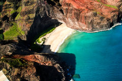 Secluded Tropical Cove. Aerial view of a tropical cove and secluded beach Stock Image