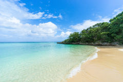Secluded tropical paradise beach with clear blue lagoon water, Ishigaki Island, Okinawa, Japan. Secluded tropical beach and crystal clear blue lagoon water Stock Image