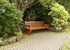 Secluded Wooden Bench Stock Image